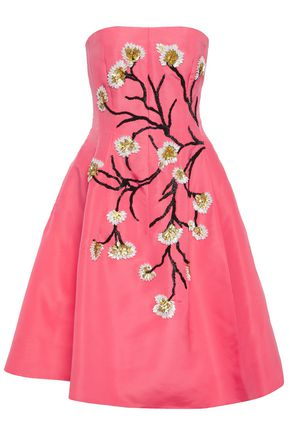 OSCAR DE LA RENTA Flared strapless embellished silk-faille dress