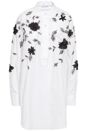 OSCAR DE LA RENTA Floral-appliquéd embroidered cotton-blend poplin shirt
