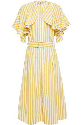 OSCAR DE LA RENTA Layered belted ruffled cotton-poplin midi dress
