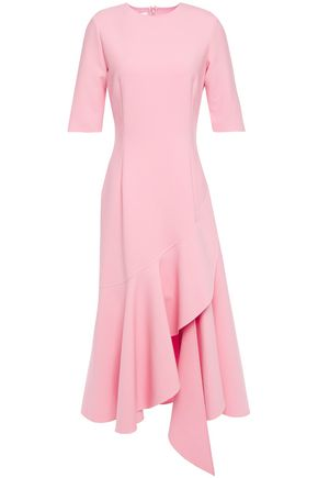 OSCAR DE LA RENTA Draped ruffled wool-blend midi dress