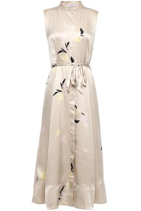 EQUIPMENT Clevete belted floral-print silk-satin midi dress