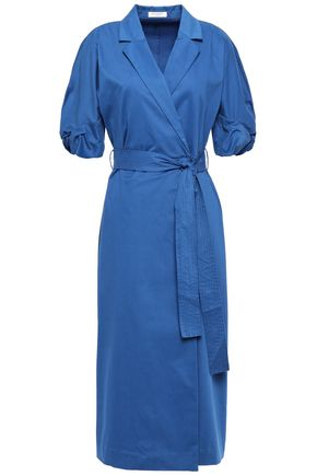 EQUIPMENT Anitone stretch-cotton sateen midi wrap dress