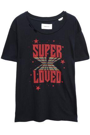CURRENT/ELLIOTT Distressed printed cotton-jersey T-shirt