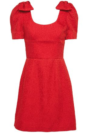 REBECCA VALLANCE Bow-embellished cloqué mini dress