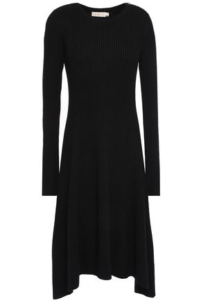 TORY BURCH Asymmetric mélange ribbed merino wool dress
