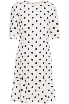 OSCAR DE LA RENTA Polka-dot wool-blend stretch-crepe mini dress