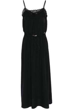 LOVE MOSCHINO Lace-trimmed crepe de chine midi dress