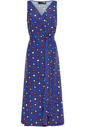 LOVE MOSCHINO Printed woven midi wrap dress