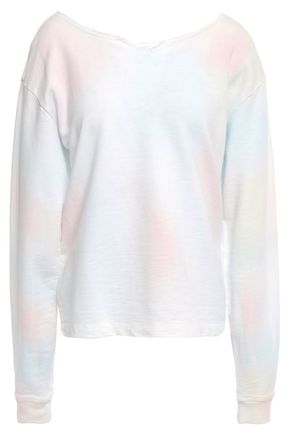 CURRENT/ELLIOTT Frayed tie-dyed French cotton-terry sweatshirt