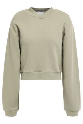 CURRENT/ELLIOTT Zip-detailed cropped French cotton-terry sweatshirt
