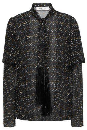 DIANE VON FURSTENBERG Pussy-bow tinsel-trimmed polka-dot silk-chiffon blouse