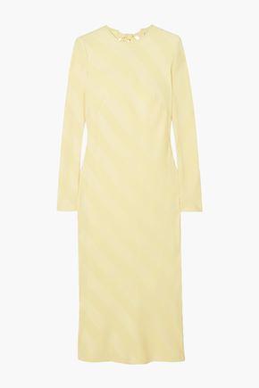 REBECCA VALLANCE Bow-detailed striped satin-jacquard midi dress