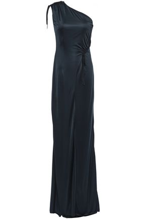 SAFIYAA One-shoulder gathered stretch satin-jersey gown
