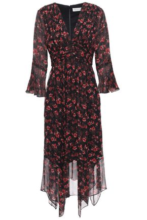 RACHEL ZOE Asymmetric floral-print silk-georgette dress