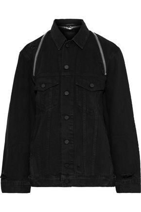 ALEXANDER WANG Daze zip-detailed distressed denim jacket