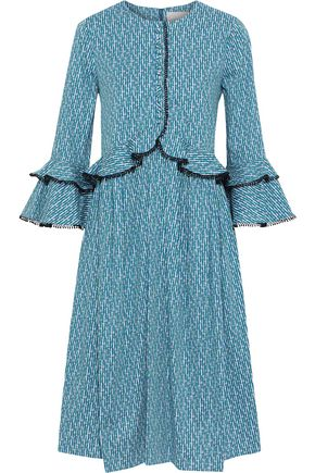 CAROLINA HERRERA Ruffle-trimmed printed cotton-blend dress