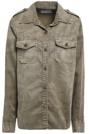 CURRENT/ELLIOTT Printed cotton-gabardine shirt