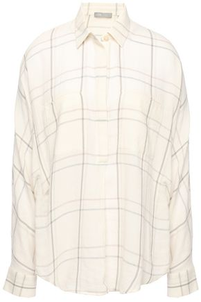 VINCE. Checked cotton-blend shirt