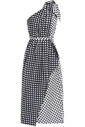 CAROLINA HERRERA One-shoulder draped polka-dot jacquard midi dress