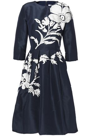 CAROLINA HERRERA Flared embellished silk-taffeta dress