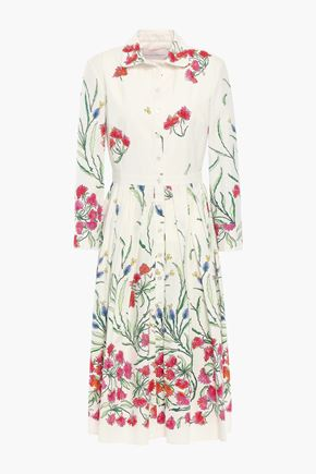 CAROLINA HERRERA Pleated floral-print stretch-cotton dress