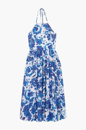 CAROLINE CONSTAS Gretta gathered floral-print cotton-blend mousseline halterneck dress
