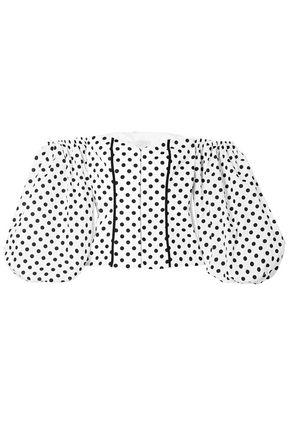 CAROLINE CONSTAS Belen off-the-shoulder polka-dot cotton-blend blouse