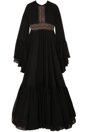 GIAMBATTISTA VALLI Flared lace-trimmed gathered silk-chiffon gown