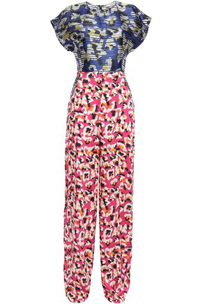 MARY KATRANTZOU Petra printed burnout satin and twill wide-leg jumpsuit