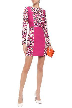 Mary Katrantzou Woman New Paneled Printed Stretch-Crepe Mini Dress Fuchsia