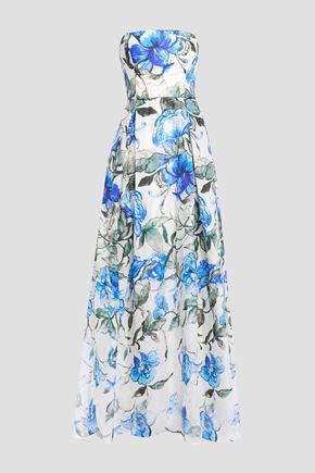 CAROLINA HERRERA Strapless pleated floral-print silk-organza gown