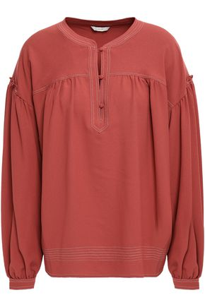 JOIE Mirna gathered crepe blouse