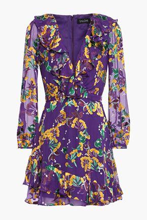 SALONI Jodie ruffle-trimmed floral-print devoré-velvet mini dress