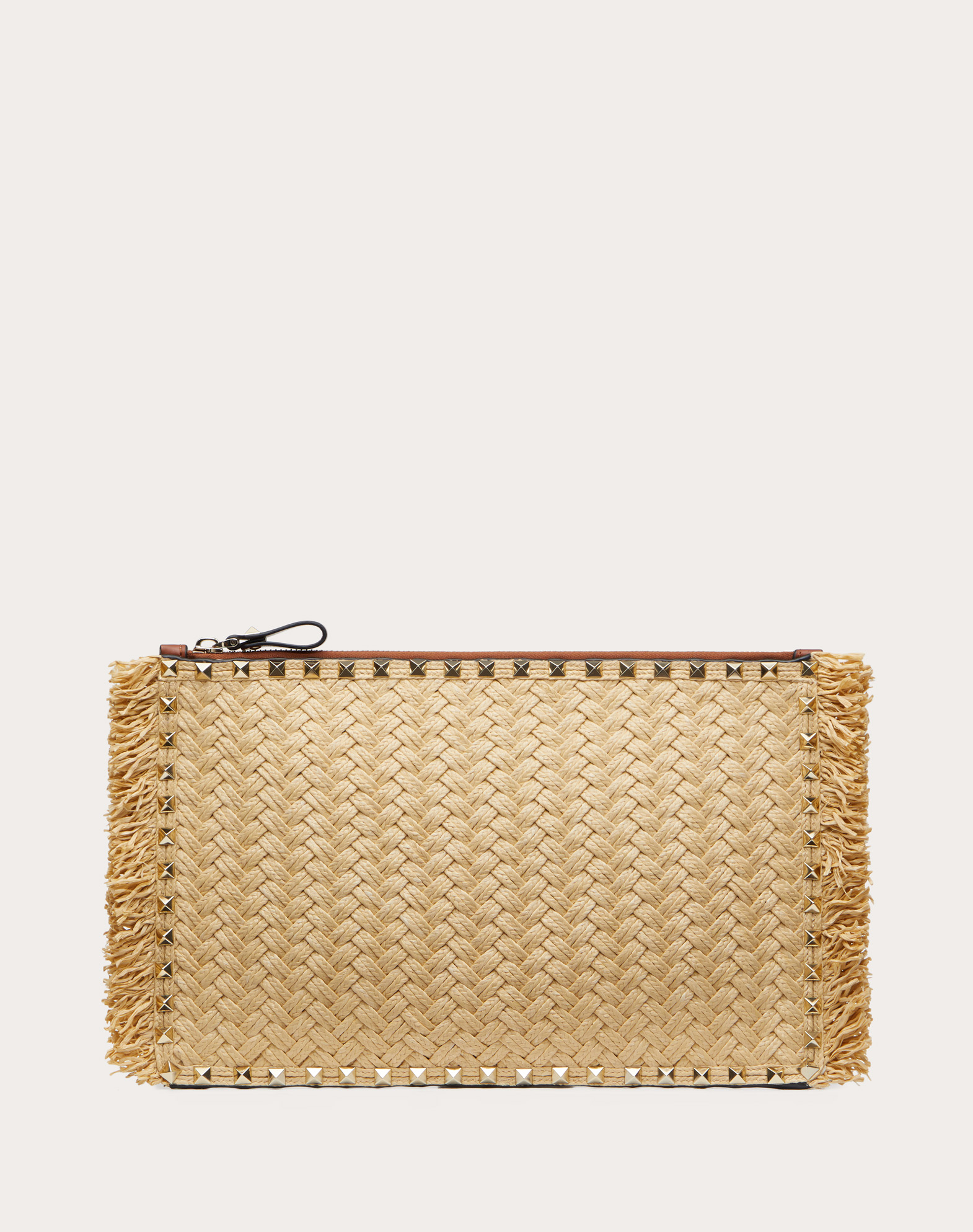 LARGE ROCKSTUD WOVEN RAFFIA AND CALFSKIN POUCH WITH ZIP