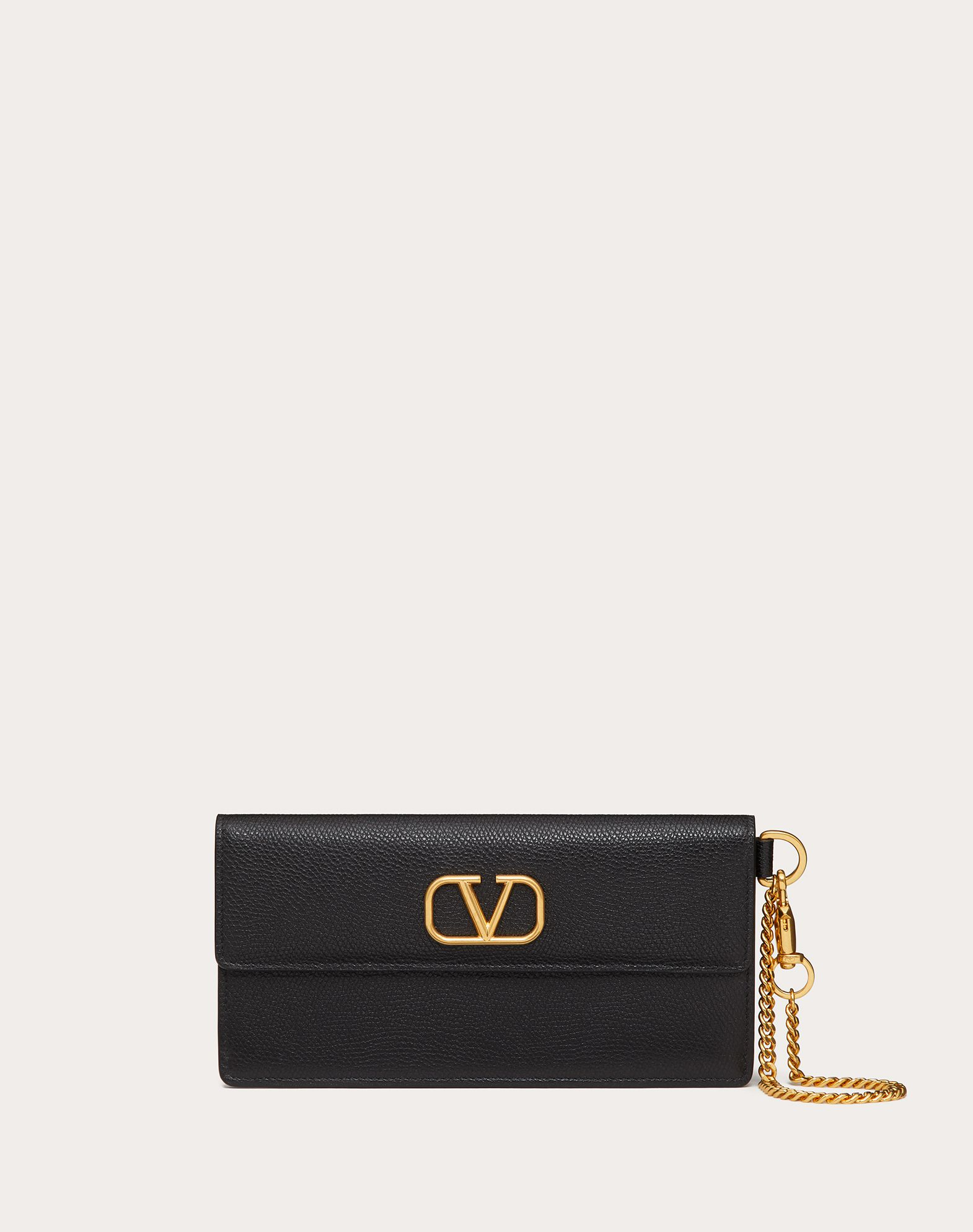 VLOGO GRAINY CALFSKIN NOTE POUCH WITH CHAIN HANDLE