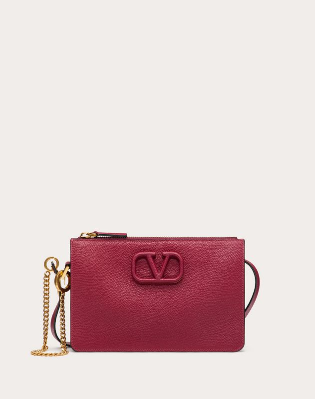 VSLING GRAINY CALFSKIN POUCH WITH ADJUSTABLE STRAP