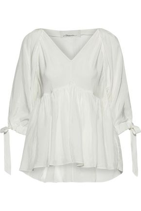 3.1 PHILLIP LIM Gathered crinkled-sateen blouse