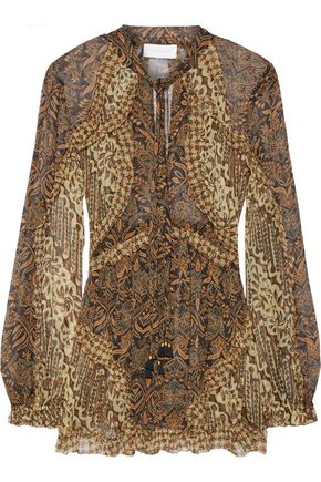 ZIMMERMANN Tali Batik Floating ruffle-trimmed printed silk-georgette blouse