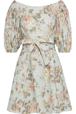 ZIMMERMANN Fleeting Flip belted floral-print linen mini dress