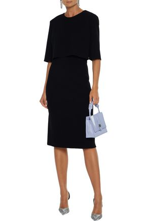 Oscar De La Renta Dresses OSCAR DE LA RENTA WOMAN CAPE-EFFECT WOOL-BLEND CREPE DRESS BLACK