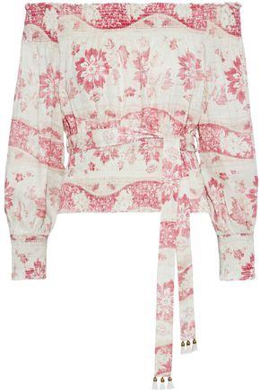 ZIMMERMANN Bayou off-the-shoulder shirred floral-print linen blouse