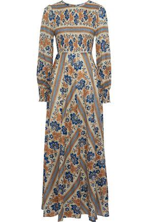 ZIMMERMANN Castile shirred printed linen and cotton-blend maxi dress