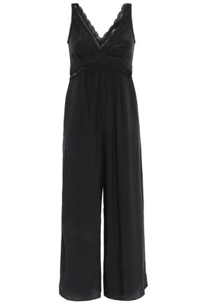 ZIMMERMANN Cropped lace-trimmed washed-silk wide-leg jumpsuit