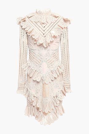 ZIMMERMANN Ruffled lace-appliquéd Ramie-blend mini dress