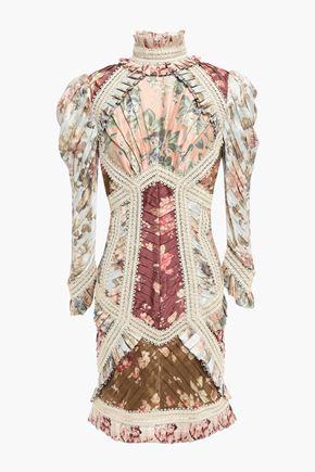 ZIMMERMANN Pleated appliquéd floral-print silk mini dress