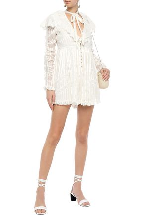 Zimmermann Pussy-bow Lace-trimmed Silk-satin Jacquard Playsuit In Ivory