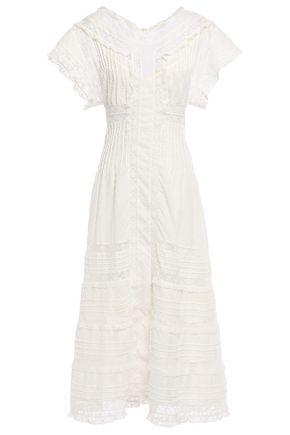 ZIMMERMANN Iris paneled Leavers lace and Swiss-dot cotton midi dress