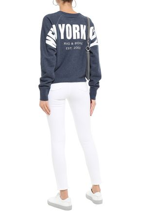 Rag & Bone T-shirts RAG & BONE WOMAN PRINTED FRENCH COTTON-TERRY SWEATSHIRT INDIGO