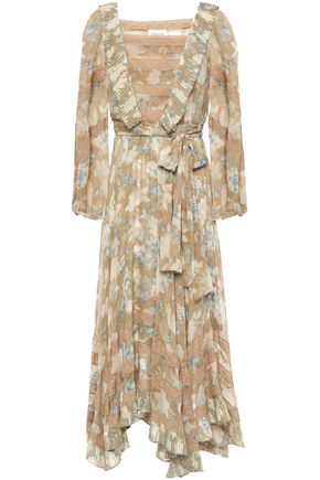 ZIMMERMANN Asymmetric belted floral-print silk-chiffon midi dress