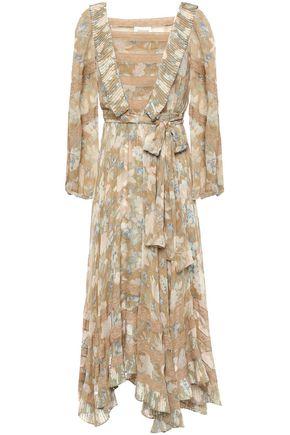 ZIMMERMANN فستان متوسط الطول وغير متماثل من الشيفون الحريري المطبع بالورود ومزوّد بحزام